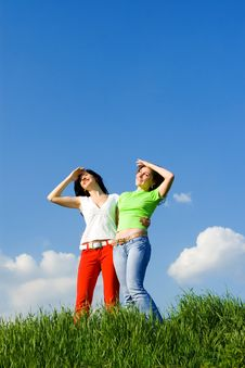 Free Two Happy Women Dreams To Fly On Winds Stock Image - 7951211