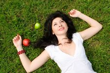 Woman Rest On The Grass Stock Photos