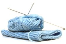 Free Two Knitting Needles, Woollen Yarn And Knitting. Royalty Free Stock Photography - 7951497