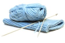 Free Two Knitting Needles, Woollen Yarn And Knitting. Stock Photos - 7951513