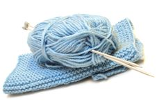 Free Two Knitting Needles, Woollen Yarn And Knitting. Stock Photography - 7951582