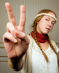 Free Girl Says Peace Stock Photography - 7952132