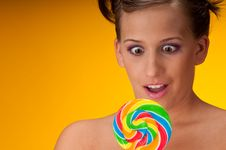 Free Sexy Brunette Woman With Lollipop Stock Photos - 7952963