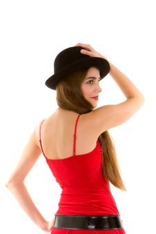Free Glamour Woman With Hat Stock Image - 7953061