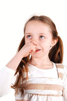 Free Girl With Finger In Nose. Royalty Free Stock Images - 7953309