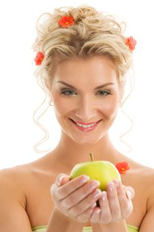 Free Woman With Ripe Green Apple Royalty Free Stock Photography - 7953887