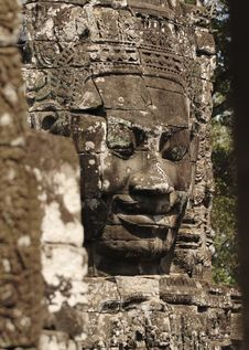 Khmer Smile In Bayon Wat,Siem Riep,Cambodia Royalty Free Stock Images