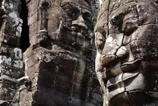 Khmer Smile In Bayon Wat,Siem Riep,Cambodia Royalty Free Stock Photography