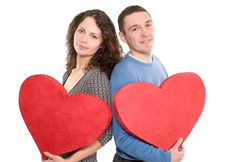 Free Loving Couple Holding Hearts Royalty Free Stock Photography - 7954707