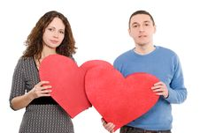 Free Loving Couple Holding Hearts Together Royalty Free Stock Image - 7954716