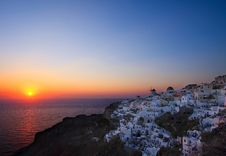 Oia Sunset - The Best In The World! Stock Images