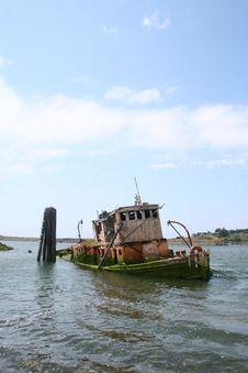 Old Sunken Tugboat Stock Images