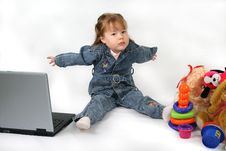 Free Girl Laptop And Toys. Royalty Free Stock Photography - 7955697