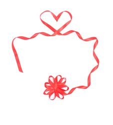 Red Heart From Ribbon For Valentine Royalty Free Stock Image