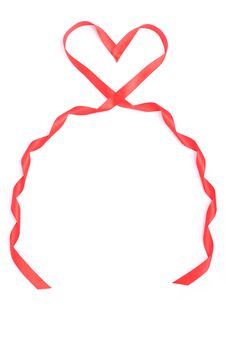 Free Red Heart Form Ribbon For Valentine Stock Photos - 7955873