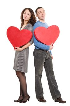 Free Couple Standing Holding Hearts Royalty Free Stock Photos - 7956068