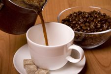 Free Cup Of Coffee, Sugar And Beans Royalty Free Stock Images - 7956429
