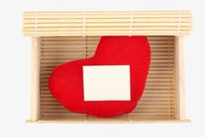 Bamboo Box With Heart Stock Photos