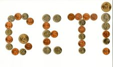 Free Interjections Written With Various Coins. Royalty Free Stock Image - 7956556