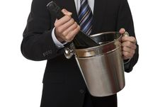Free Man With Suit Champagne Bottle In Ice-pail Royalty Free Stock Photo - 7956685