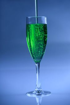 Green Sparkling Drink Stock Photo