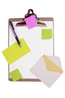 Clipboard With Sticky Notes And Cards Stock Photos