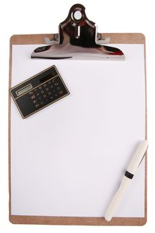 Free Clipboard With Paper, Pen And Calculator Stock Photo - 7957290