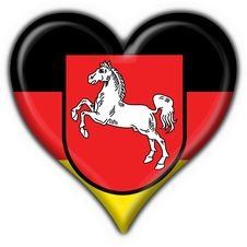 Free Lower Saxony Button Flag Heart Shape Royalty Free Stock Image - 7957686