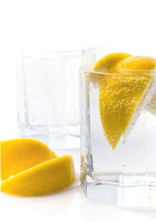Soda Water And Lemon Slices Stock Photos