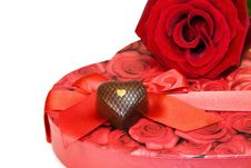 Free Love - Red Rose And Chocolate Over White Stock Photo - 7958840