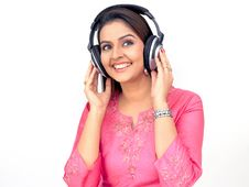 Free Beautiful Woman With A Headphone Stock Image - 7960131
