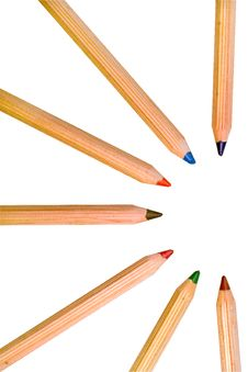 Free Colored Pencils Isolated Over A White Background Royalty Free Stock Photography - 7961517