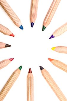 Free Colored Pencils Isolated Over A White Background Stock Image - 7961521