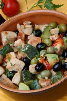 Turkey Meat Pieces With Vegetable Mix Stock Photo