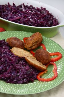 Fresh Red Cabbage With Meat Royalty Free Stock Images