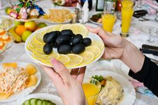 Free Black Olives And Lemons. Stock Images - 7962654
