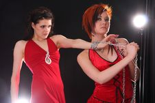Free Two Models In Colorful Setting In The Studio Stock Photos - 7963513