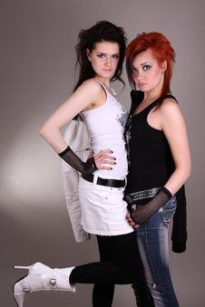 Free Two Models In Colorful Setting In The Studio Stock Photos - 7963553