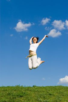 Free Happy Woman Is Jumping Stock Image - 7964081