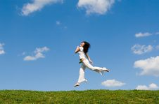 Free Happy Woman Is Jumping Stock Photos - 7964163