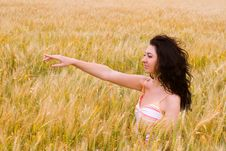 The Happy Woman On A Yellow Field Stock Photos