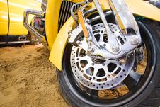 Free Part Of Yellow Motorbike On The Sand Royalty Free Stock Image - 7964776