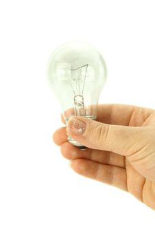 Bulb In A Womans Hand Stock Image