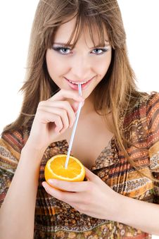 Free Beautiful Woman With Fresh Orange Royalty Free Stock Image - 7965236
