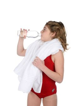 Girl Drinking Water After Working Out Royalty Free Stock Photo