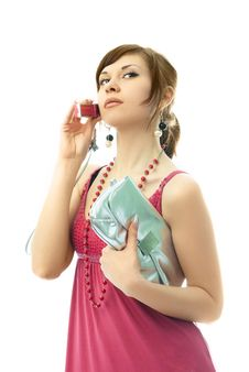 Beautiful Glamorous Woman Talking On The Cellphone Royalty Free Stock Photography