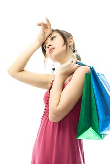 Free Beautiful Elegant Young Woman Tired Of Shopping Royalty Free Stock Photography - 7969747
