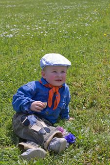 Free Little Boy On The Grass Royalty Free Stock Photos - 7970858