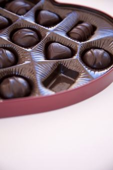 Free Box Of Chocolates With One Chocolate Missing Stock Image - 7971781