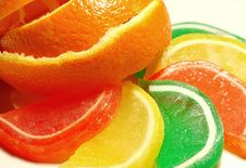 Orange And Candy Slices Royalty Free Stock Photos